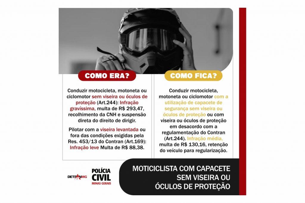Motocicleta com Capacete sem Viseira ou Óculos de Proteção.